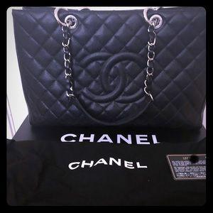 7ca3f201a712 Chanel GST, black caviar with silver hardware.EUC